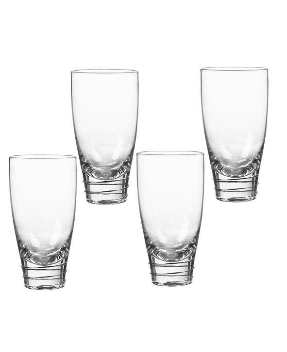 Qualia Glass Helix Platinum Highball Glasses, Set Of 4