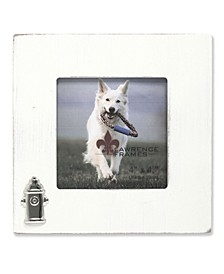"White Wash Dog Frame with Fire Hydrant Ornament - 4"" x 4"""
