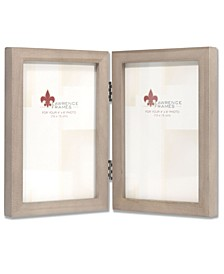 "Hinged Double Gray Wood Picture Frame - Gallery Collection - 4"" x 6"""