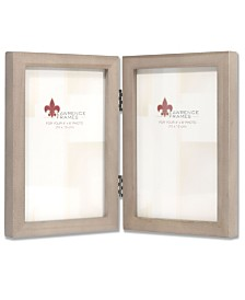 """Lawrence Frames Hinged Double Gray Wood Picture Frame - Gallery Collection - 4"""" x 6"""""""