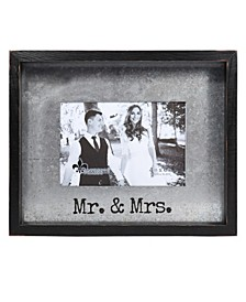 "Taylor Black Wood Frame with Galvanized Metal - Mr. and Mrs. - 4"" x 6"""