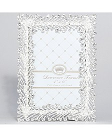 "Jasmond Silver Metal Frame with Crystal Spray - 4"" x 6"""