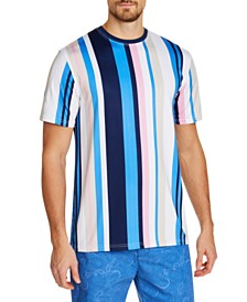 Tallia Men's Slim-Fit Comfort Stretch Multi Stripe Short Sleeve Crew T-Shirt