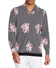 Tallia Men's Slim-Fit Performance Stretch Floral Dot Long Sleeve Camp Shirt