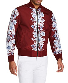 Tallia Men's Slim-Fit Water Repellent Floral Reversible Bomber