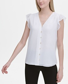 Calvin Klein Button-Front Flutter-Sleeve Top