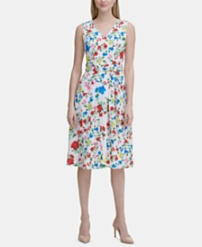 Calvin Klein Sleeveless Floral Printed A-Line Dress