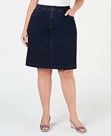Plus Size Denim Skirt, Created for Macy's