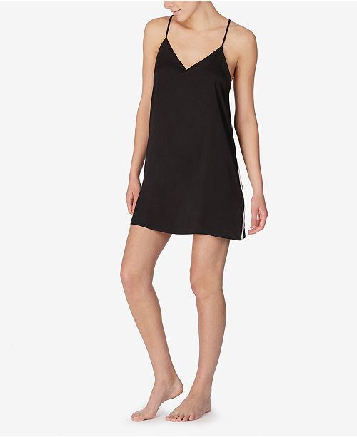 DKNY Satin Side-Striped Racerback Chemise Nightgown