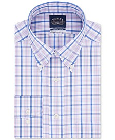 Men's Classic/Regular Fit Non-Iron Flex Collar Blue Check Dress Shirt