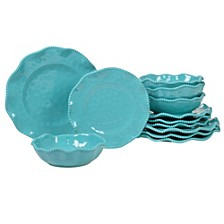 Perlette Teal Melamine 12-Pc. Dinnerware Set