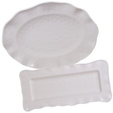 Certified International Perlette Cream Melamine 2-Pc. Platter Set - Rectangular and Oval