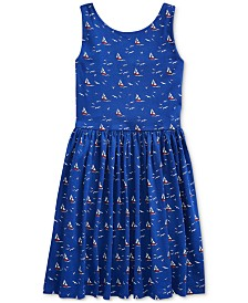 Polo Ralph Lauren Big Girls Sailboat Cotton Jersey Dress