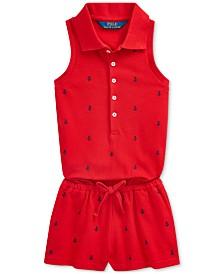 Polo Ralph Lauren Little Girls Anchor Cotton Mesh Romper