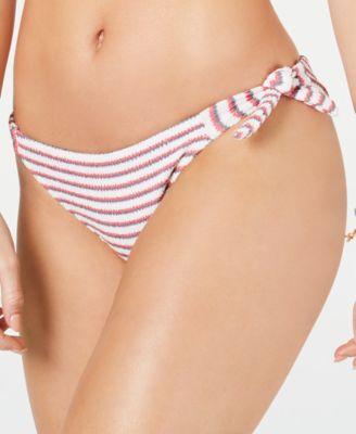 Juniors' Chasing Love Textured Side-Tie Bikini Bottoms