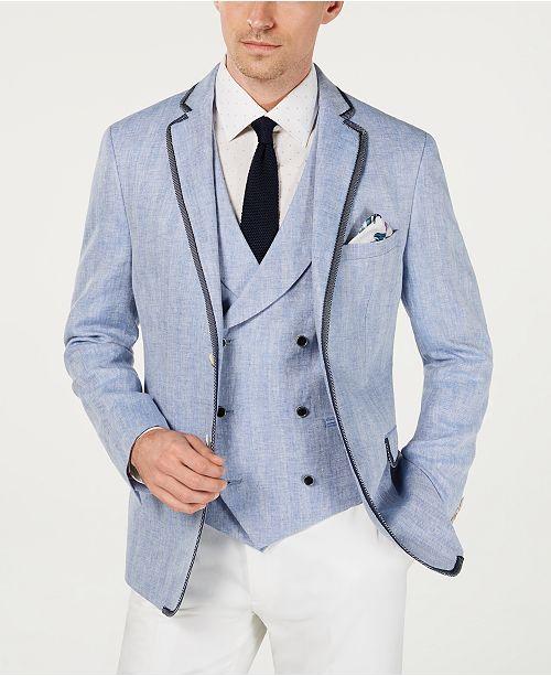 Tallia Men's Herringbone Linen Slim Fit Sportcoat