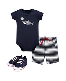 Cotton Bodysuit, Shorts and Shoe Set, 0-18 Months