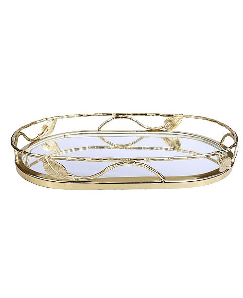 """Classic Touch 16"""" Oval Shaped Mirror Tray with Leaf Design"""