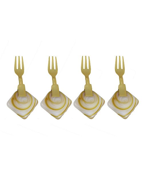 Classic Touch Set of 4 Dessert Forks with Agate Stone Handle