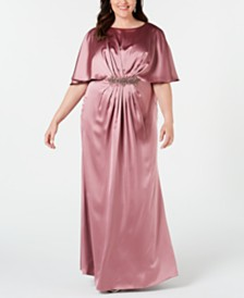 Adrianna Papell Plus Size Embellished Cape Gown