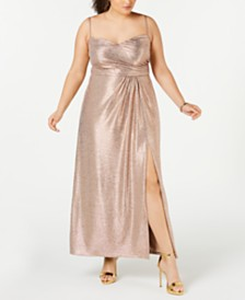 Nightway Plus Size Draped Metallic Gown