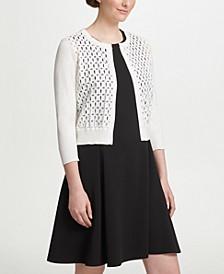 Three-Quarter-Sleeve Lace Front Cardigan