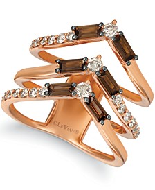 Baguette Frenzy™ Smoky Quartz (9/10 ct. t.w.) & Nude™ Diamond (5/8 ct. t.w.) Chevron Statement Ring in 14k Rose Gold