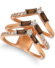 Le Vian Baguette Frenzy™ Smoky Quartz (9/10 ct. t.w.) & Nude™ Diamond (5/8 ct. t.w.) Chevron Statement Ring in 14k Rose Gold