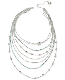 """Silver-Tone Star & Stone Multi-Row Statement Necklace, 19"""" + 3"""" extender"""