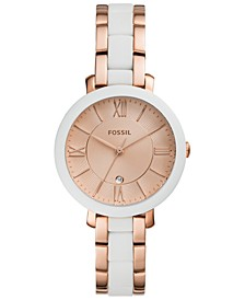 Women's Jacqueline White Silicone & Rose Gold-Tone Stainless Steel Bracelet Watch 36mm