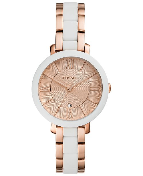 Fossil Women's Jacqueline White Silicone & Rose Gold-Tone Stainless Steel Bracelet Watch 36mm