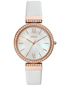 Women's Madeline White Leather Strap Watch 38mm