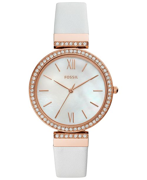 Fossil Women's Madeline White Leather Strap Watch 38mm