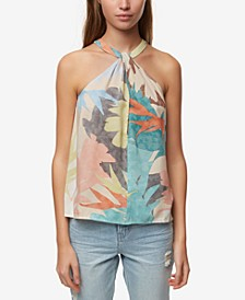 Juniors' Brightly Printed Halter Top