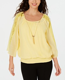 JM Collection Textured Crochet-Sleeve Necklace Top, Created for Macy's