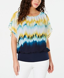 JM Collection Petite Tie-Dye Printed Banded Top, Created for Macy's