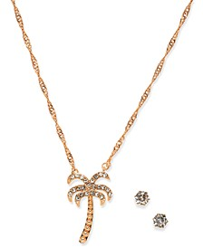 Rose Gold-Tone Crystal Stud Earrings & Palm Tree Pendant Necklace Set, Created for Macy's