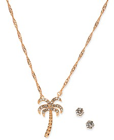 Charter Club Rose Gold-Tone Crystal Stud Earrings & Palm Tree Pendant Necklace Set, Created for Macy's