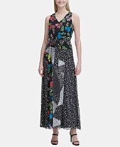 84a3a77a794 Calvin Klein Sleeveless Mixed-Print Maxi Dress