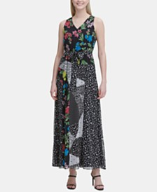Calvin Klein Sleeveless Mixed-Print Maxi Dress