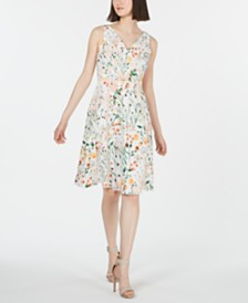 Calvin Klein Floral Lace A-Line Dress
