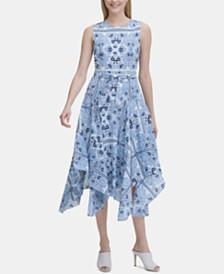 Calvin Klein Printed Angle-Hem Dress