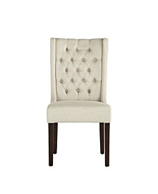 Chloe Linen Dining Chairs with Dark Walnut Legs, Set of 2