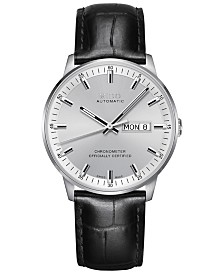 Mido Men's Swiss Automatic Chronometer Commander Black Leather Strap Watch 40mm