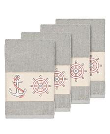 Turkish Cotton Easton 4-Pc. Embellished Hand Towel Set