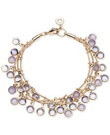 Anne Klein Gold-Tone Stone Triple-Row Shaky Bracelet