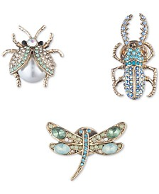 Anne Klein Gold-Tone 3-Pc. Set Crystal, Stone & Imitation Pearl Bug-Motif Pins, Created for Macy's