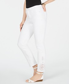 Charter Club Skinny Pineapple Eyelet-Hem Jeans, Created for Macy's