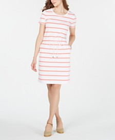 Charter Club Striped Drawstring Dress, Created for Macy's