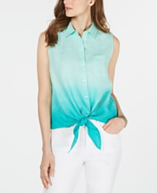 Charter Club Ombré Tie-Front Linen Sleeveless Top, Created for Macy's
